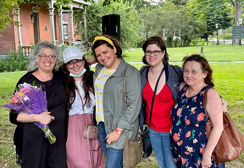 SIFIF Team at Snug Harbor for the Staten Island Dialog Project. From right, smiling Carolyn Krinsky-Adinolfi, Michelle Piazza, Heather Browand, Trisha Clay, and Mary Ellen Smith